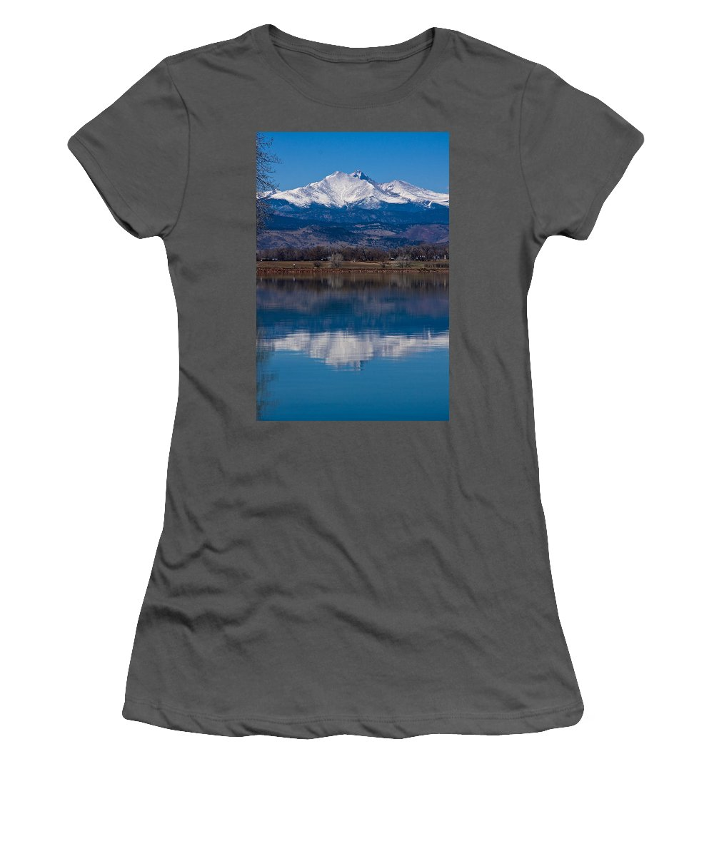 Twin Peaks Women's T-Shirt (Athletic Fit) featuring the photograph Reflections Of The Twin Peaks by James BO Insogna