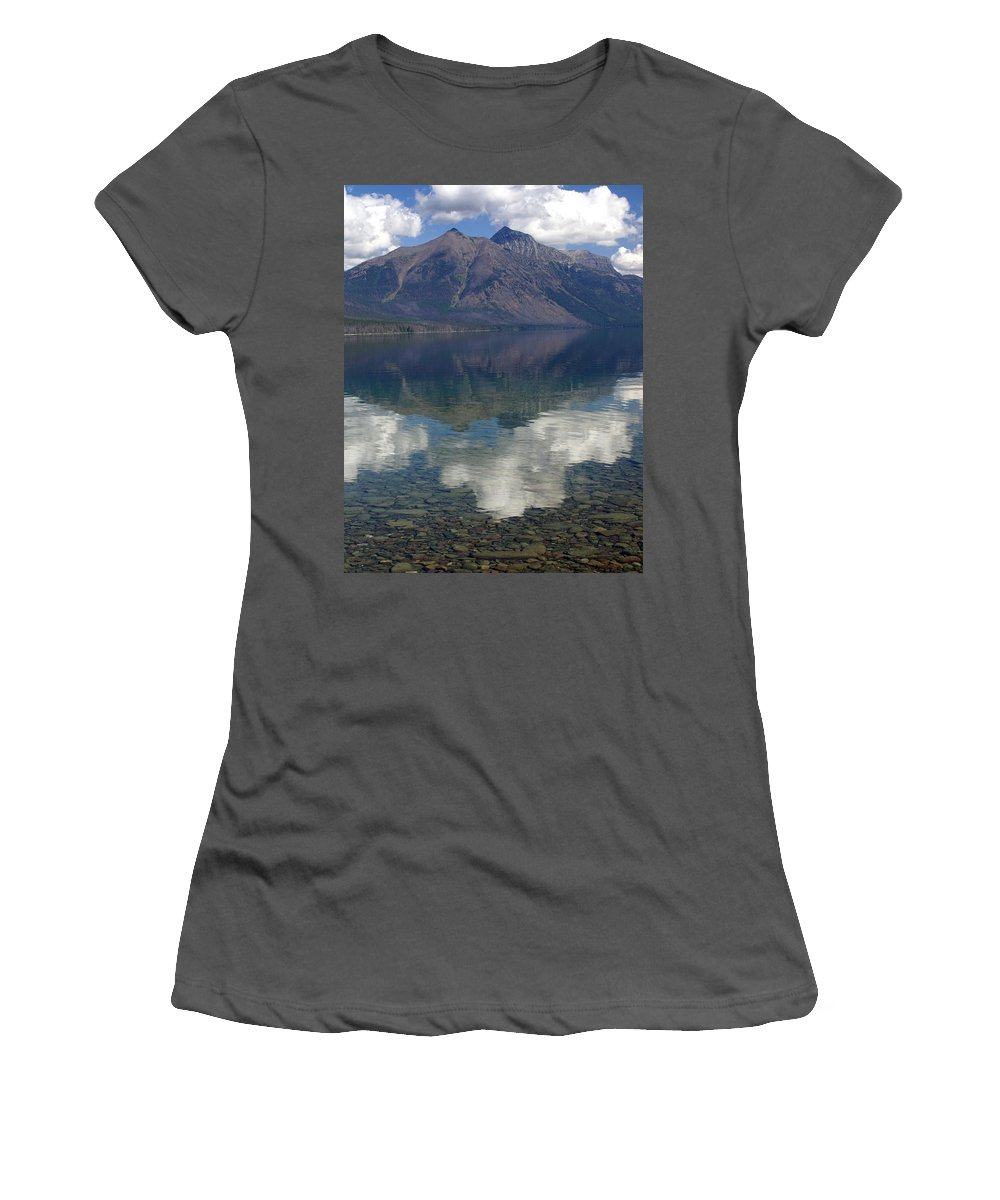Lake Women's T-Shirt (Athletic Fit) featuring the photograph Reflections On The Lake by Marty Koch
