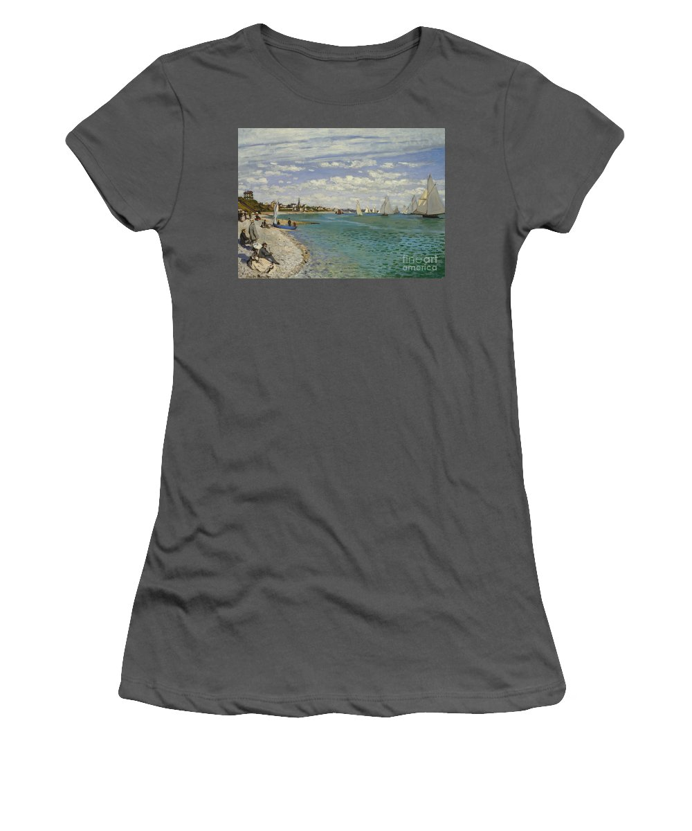 Sailing Women's T-Shirt (Athletic Fit) featuring the painting Regatta At Sainte Adresse, 1867 by Claude Monet