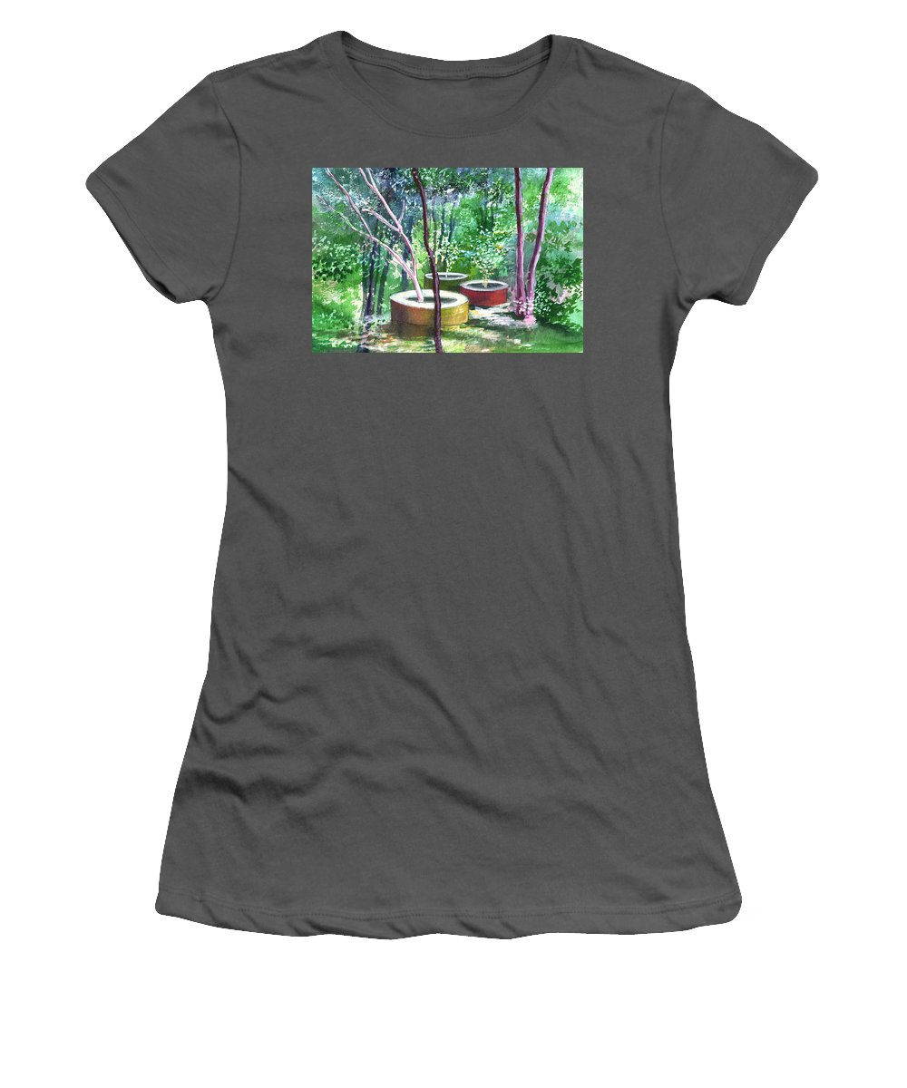 Opaque Landscape Women's T-Shirt (Athletic Fit) featuring the painting Relax Here by Anil Nene