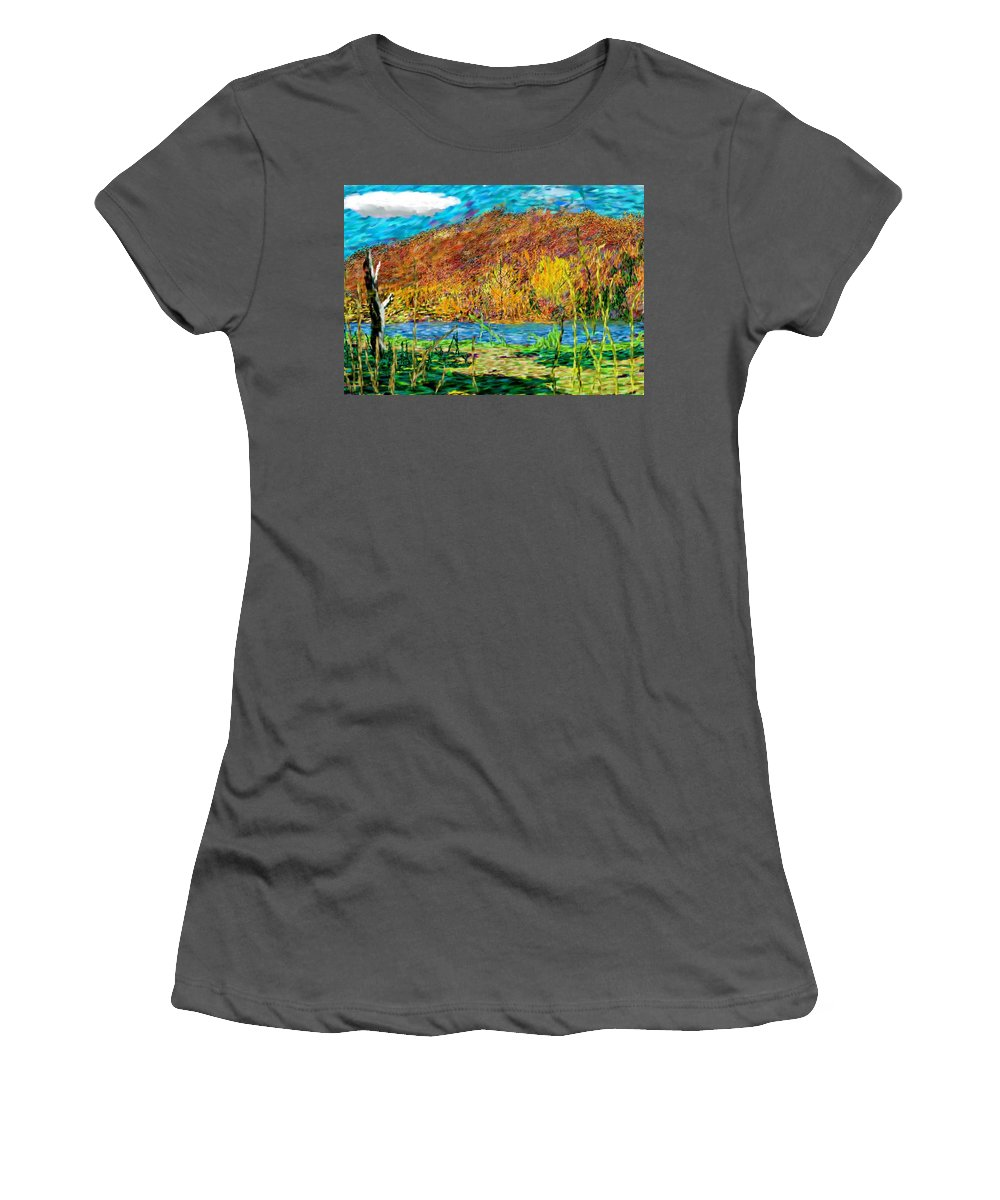 Landscape Women's T-Shirt (Athletic Fit) featuring the digital art Remembering Autumn by David Lane