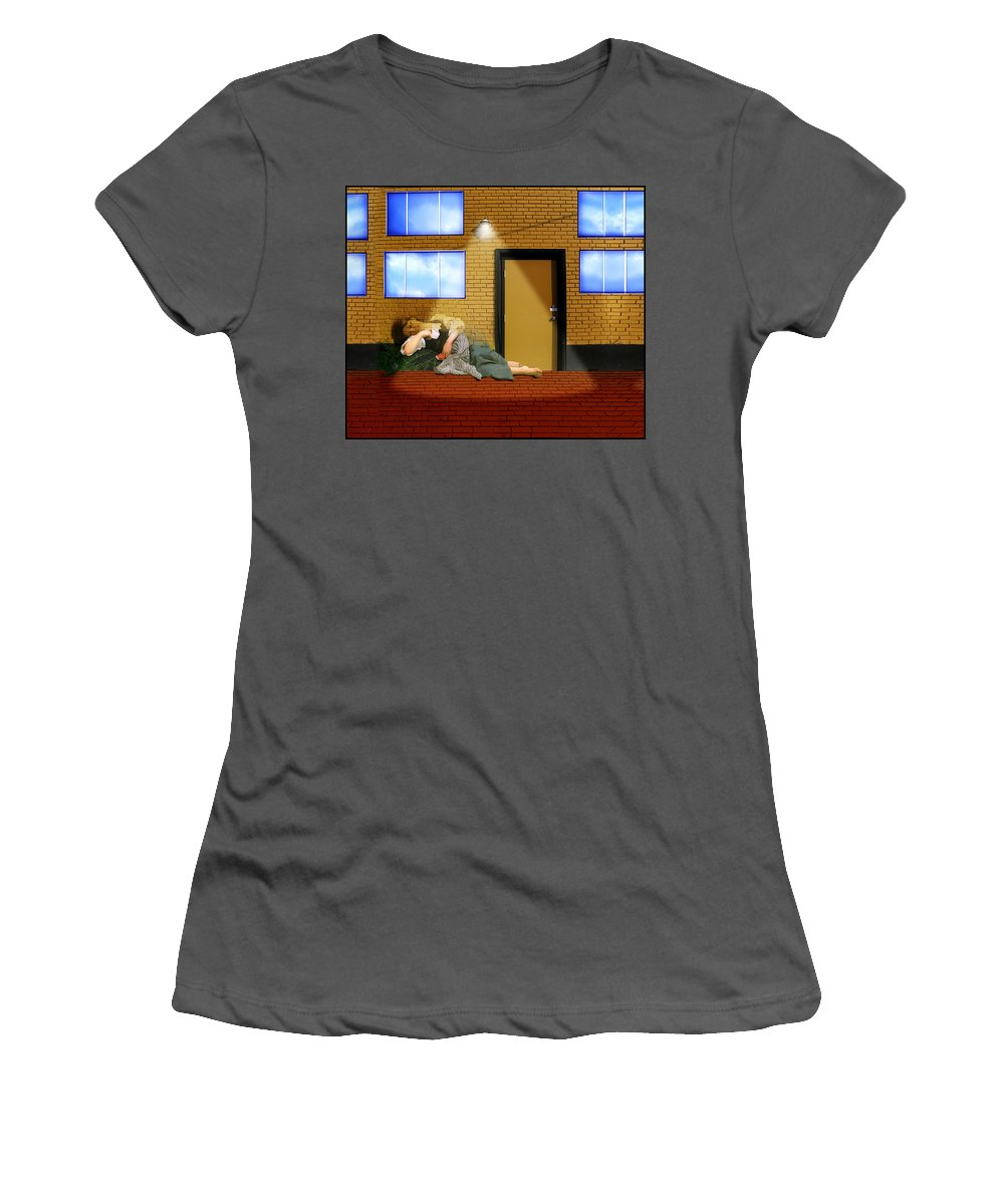 Rest At Harvest Women's T-Shirt (Athletic Fit) featuring the painting Resting Under The Light by Gravityx9 Designs