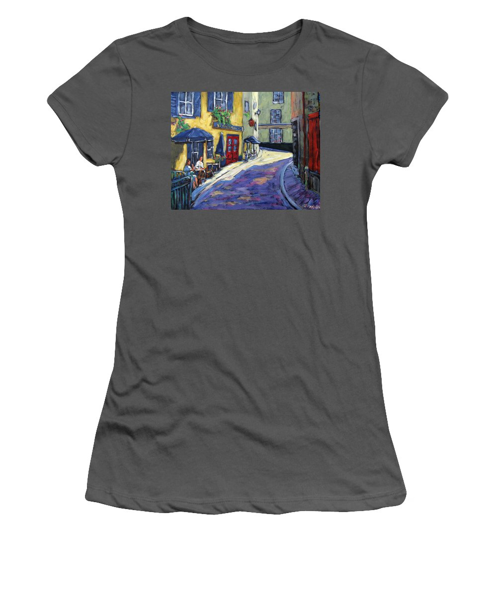 Restaurant Women's T-Shirt (Athletic Fit) featuring the painting Resto Le Cochon Dingue In Old Quebec by Richard T Pranke