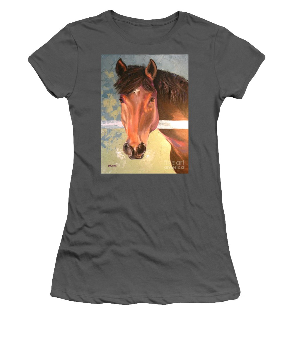 Horse Women's T-Shirt (Athletic Fit) featuring the painting Reverie - Quarter Horse by Susan A Becker