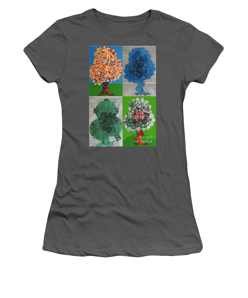 Apple Orchard Women's T-Shirt (Athletic Fit) featuring the drawing Rfb0502-0505 by Robert F Battles