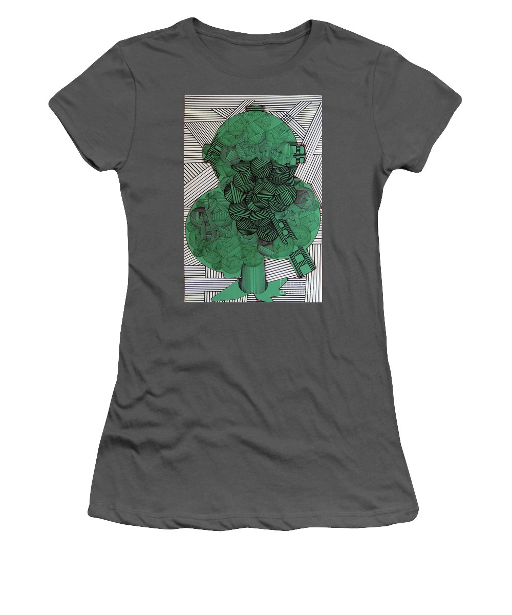 Apple Tree Women's T-Shirt (Athletic Fit) featuring the drawing Rfb0502 by Robert F Battles