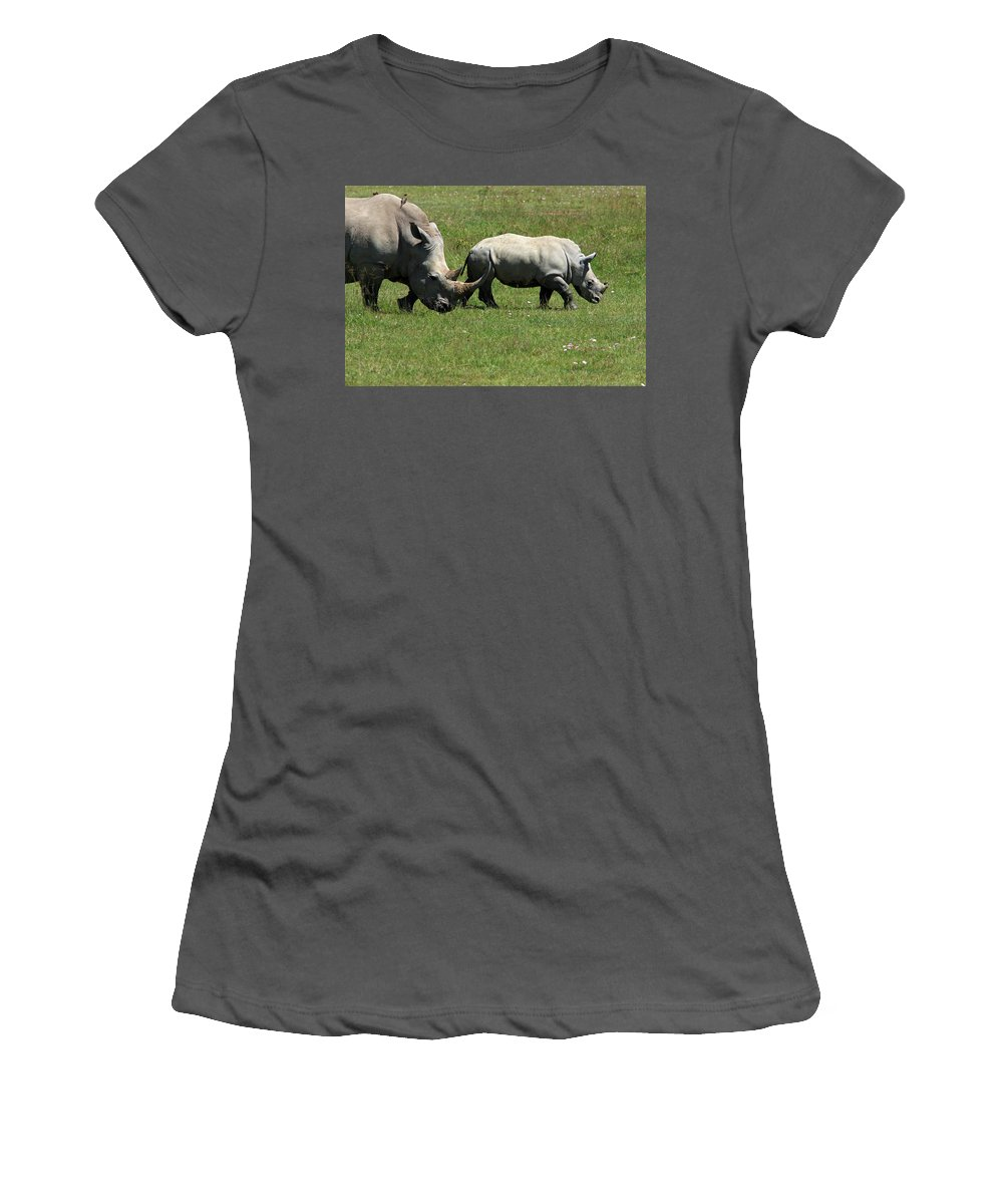 Rhino Women's T-Shirt (Athletic Fit) featuring the photograph Rhino Mother And Calf - Kenya by Aidan Moran