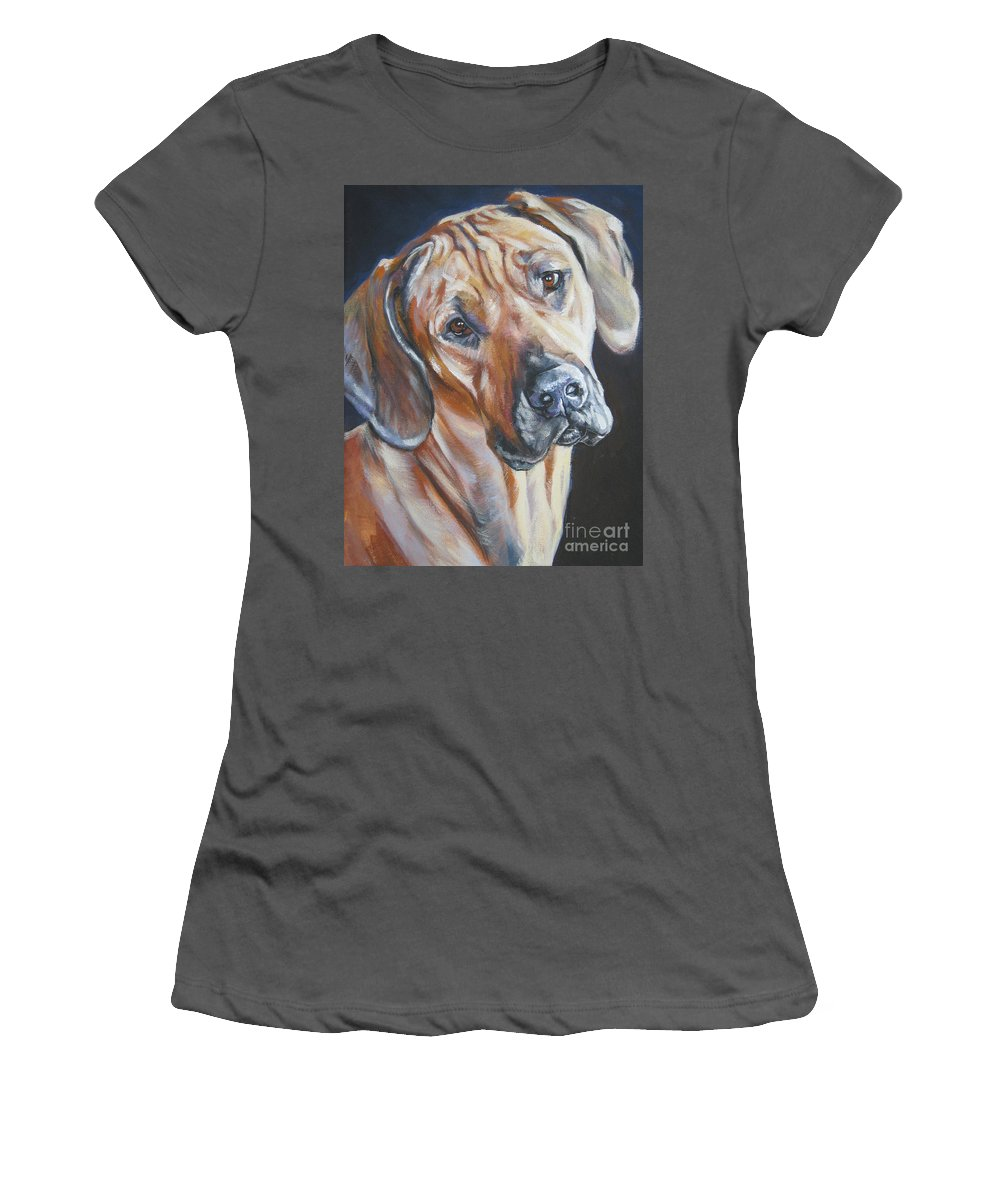 Dog Women's T-Shirt (Athletic Fit) featuring the painting Rhodesain Ridgeback by Lee Ann Shepard