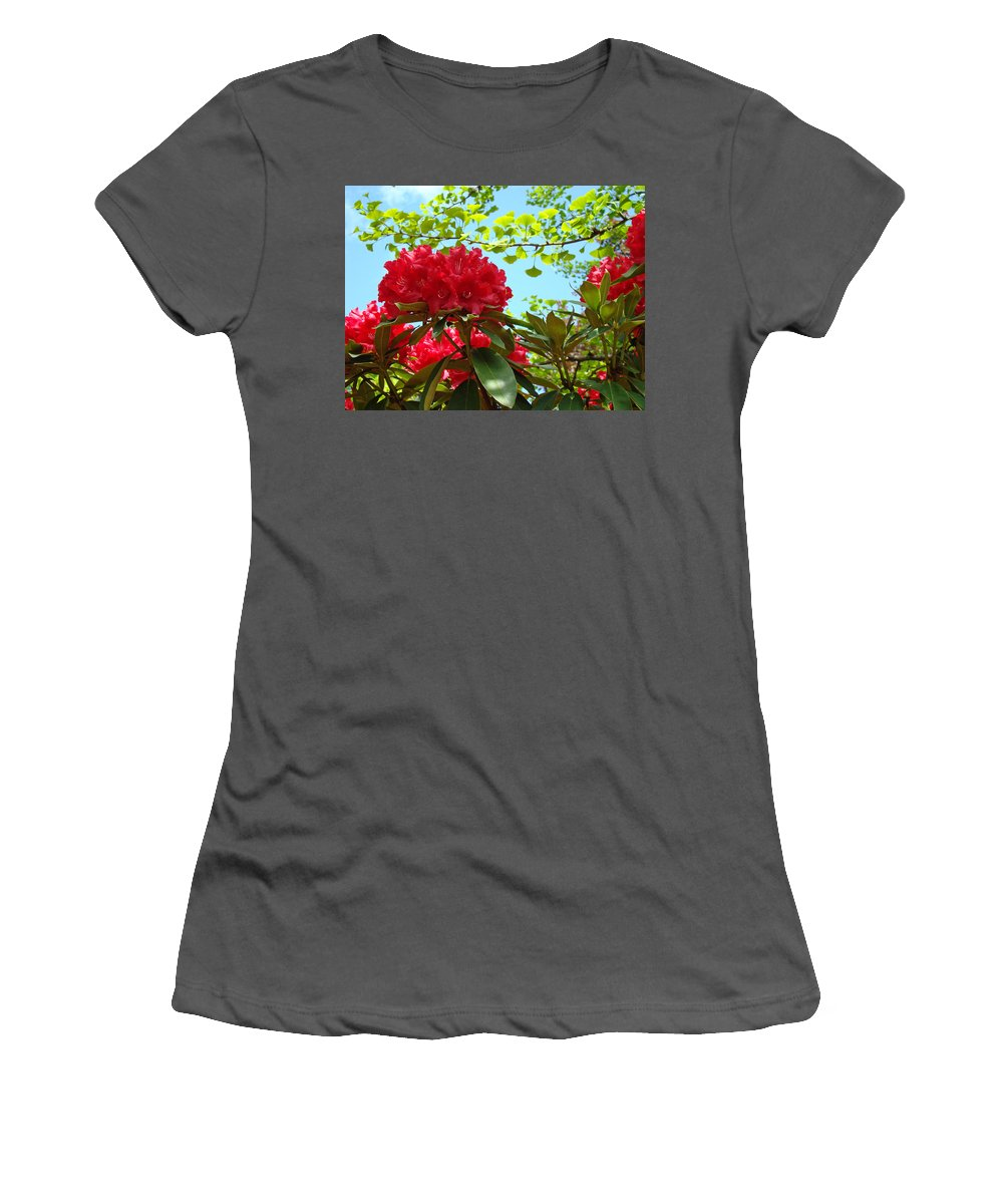 Rhodies Women's T-Shirt (Athletic Fit) featuring the photograph Rhodies Art Prints Red Rhododendron Floral Garden Landscape Baslee by Baslee Troutman