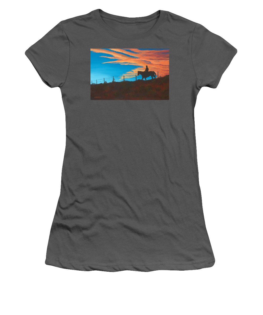 Cowboy Women's T-Shirt (Athletic Fit) featuring the painting Riding Fence by Jerry McElroy