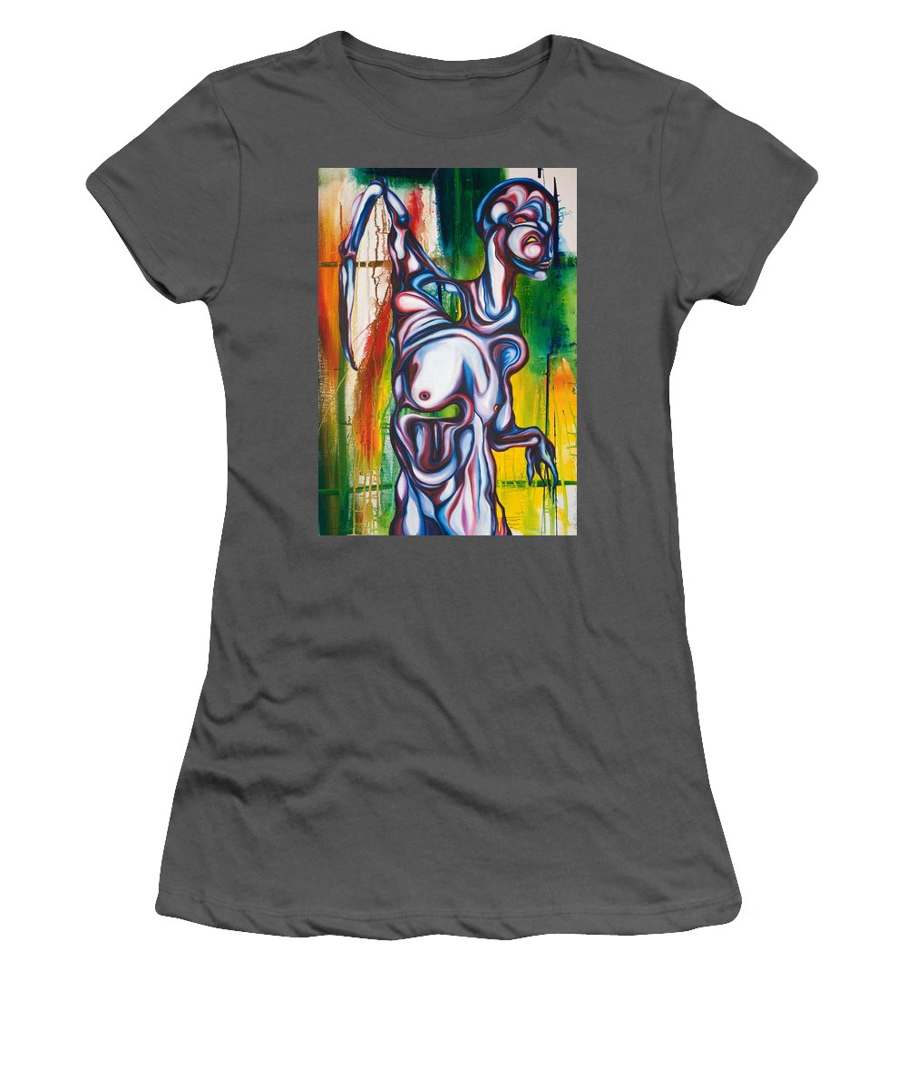 Monster Women's T-Shirt (Athletic Fit) featuring the painting Rising Son by Sheridan Furrer