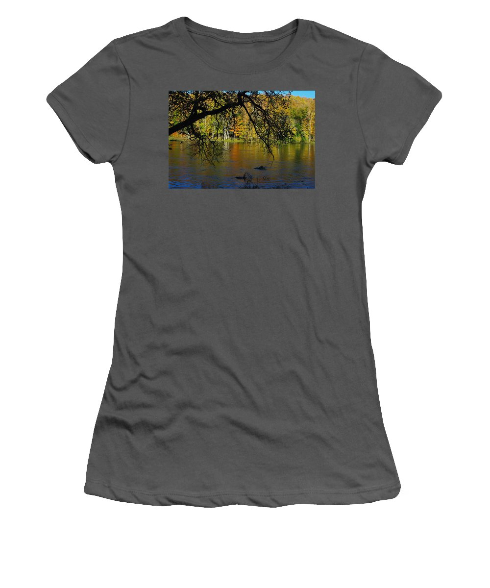 Fall Women's T-Shirt (Athletic Fit) featuring the photograph River In The Fall by Alice Markham