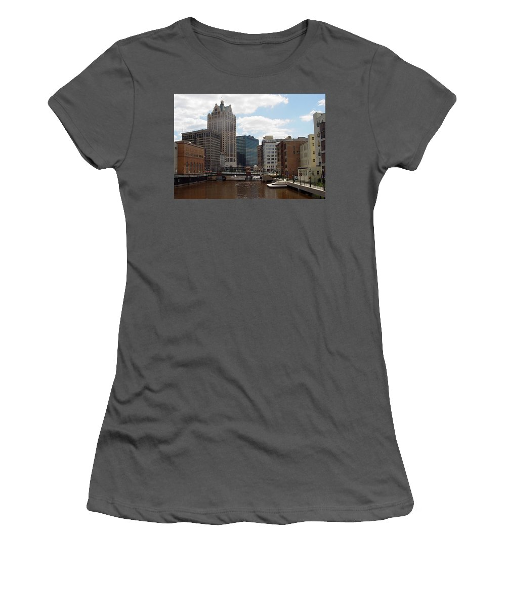 Milwaukee Women's T-Shirt (Athletic Fit) featuring the photograph River View by Anita Burgermeister
