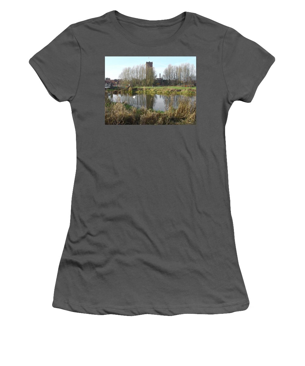 Water Tower Women's T-Shirt (Athletic Fit) featuring the photograph Riverside Walk - Burton On Trent by Rod Johnson