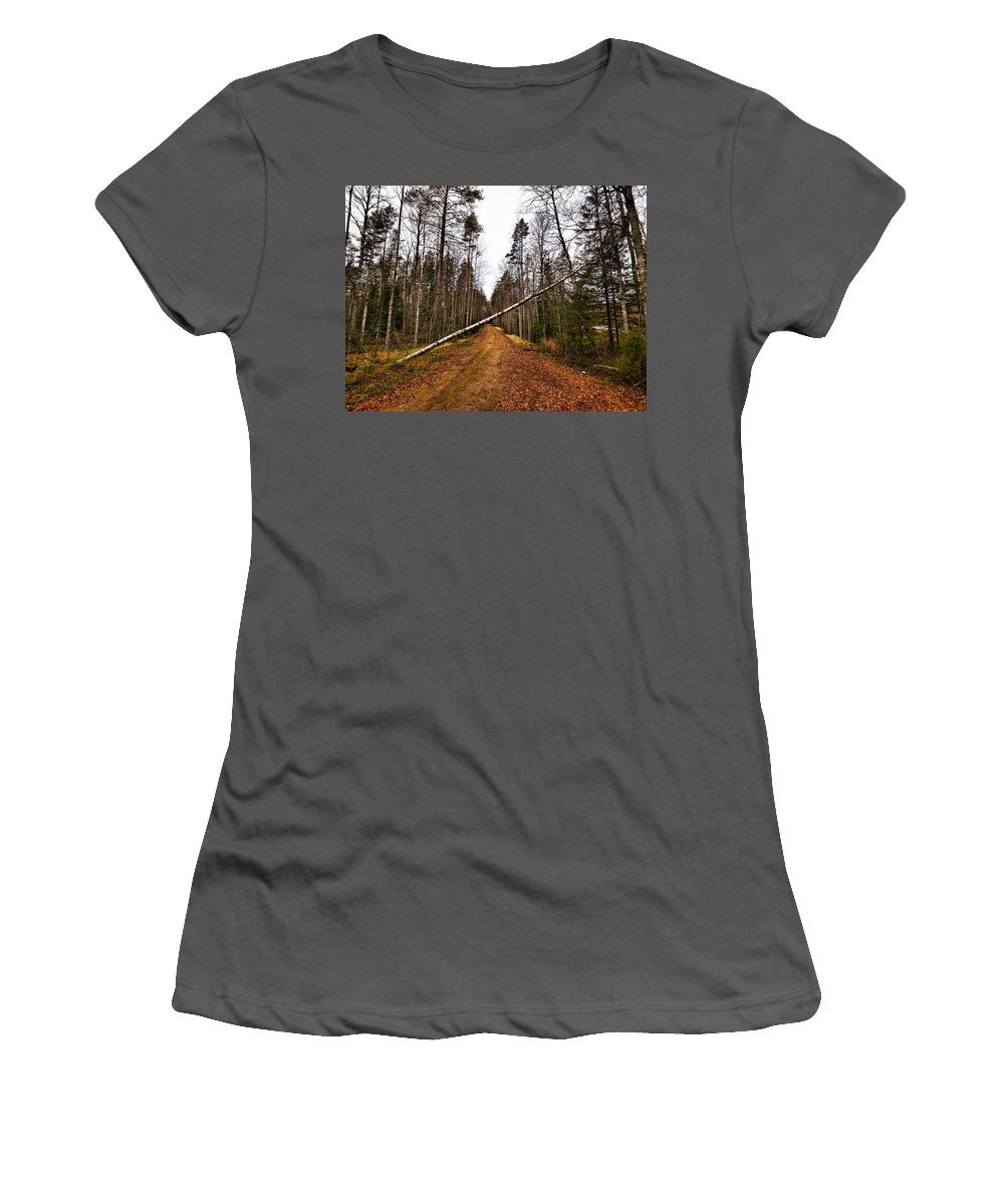 Lehtokukka Women's T-Shirt (Athletic Fit) featuring the photograph Road Closed by Jouko Lehto