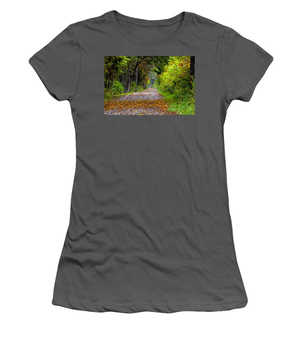Fall Women's T-Shirt (Athletic Fit) featuring the painting Road To Autumn by David Lee Thompson