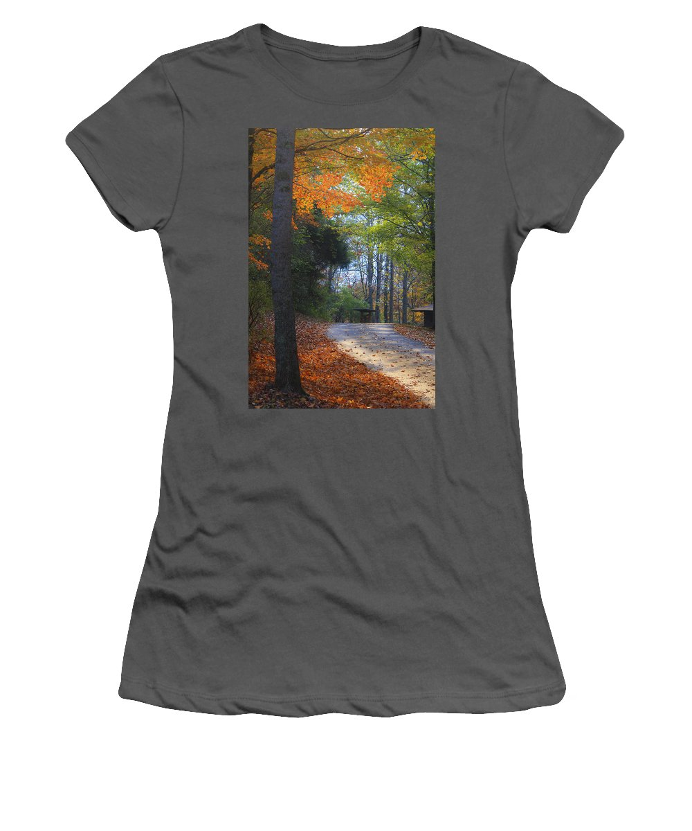 Cabin Women's T-Shirt (Athletic Fit) featuring the photograph Road To Cabin 2 by Teresa Mucha