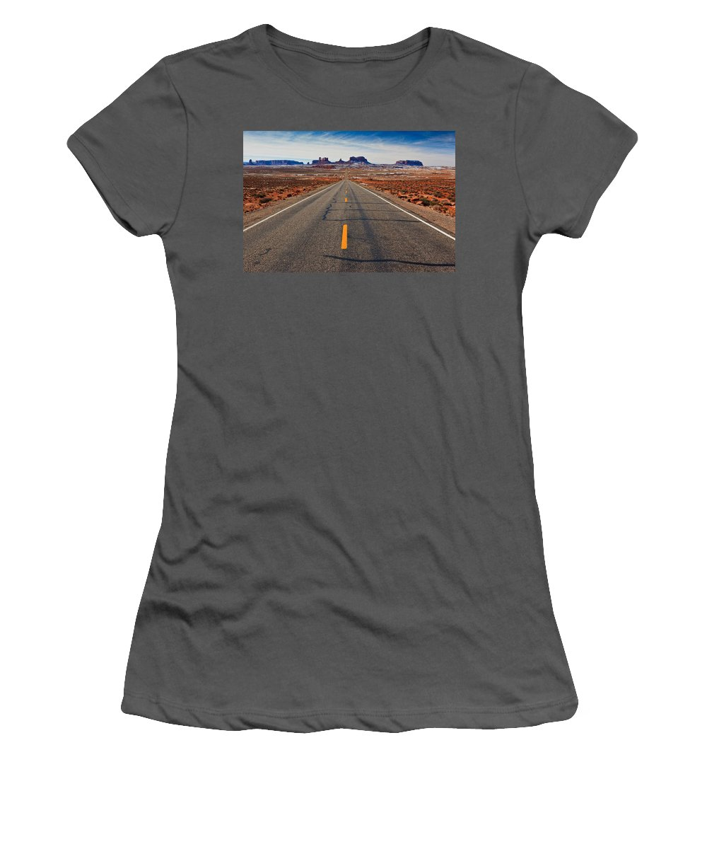 Road Women's T-Shirt (Athletic Fit) featuring the photograph Road To Monument Valley by Matt Suess