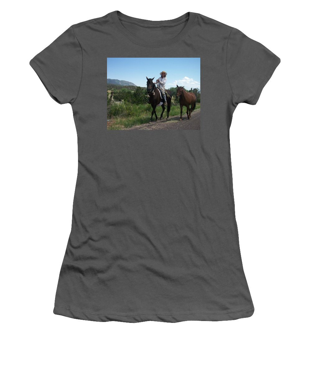 Horses Women's T-Shirt (Athletic Fit) featuring the photograph Roadside Horses by Anita Burgermeister