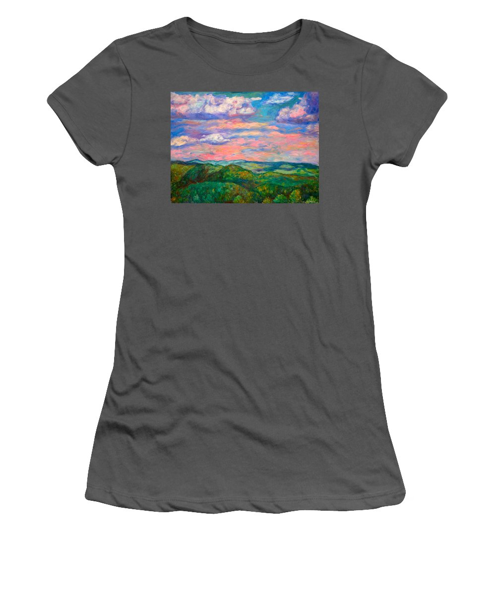 Landscape Paintings Women's T-Shirt (Athletic Fit) featuring the painting Rock Castle Gorge by Kendall Kessler