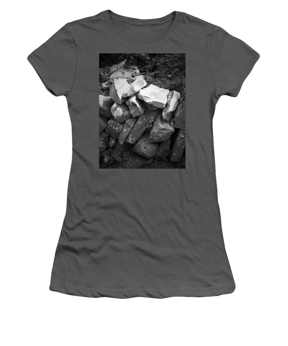 Irish Women's T-Shirt (Athletic Fit) featuring the photograph Rock Wall Doolin Ireland by Teresa Mucha