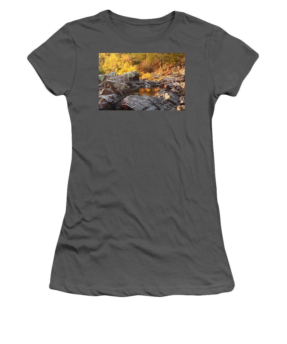 Autumn Women's T-Shirt (Athletic Fit) featuring the photograph Rocky Creek II On Mill Mountain In The Missouri Ozarks by Greg Matchick