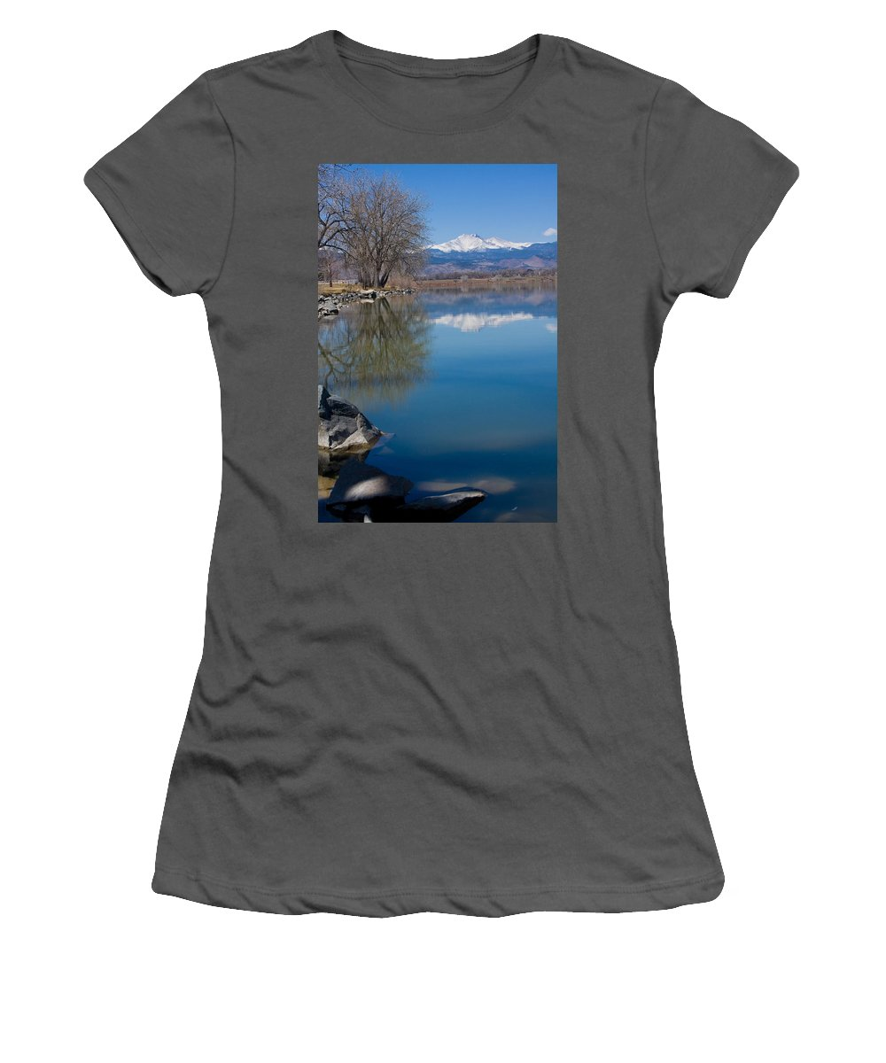 Twin Peeks Women's T-Shirt (Athletic Fit) featuring the photograph Rocky Mountain Reflections by James BO Insogna