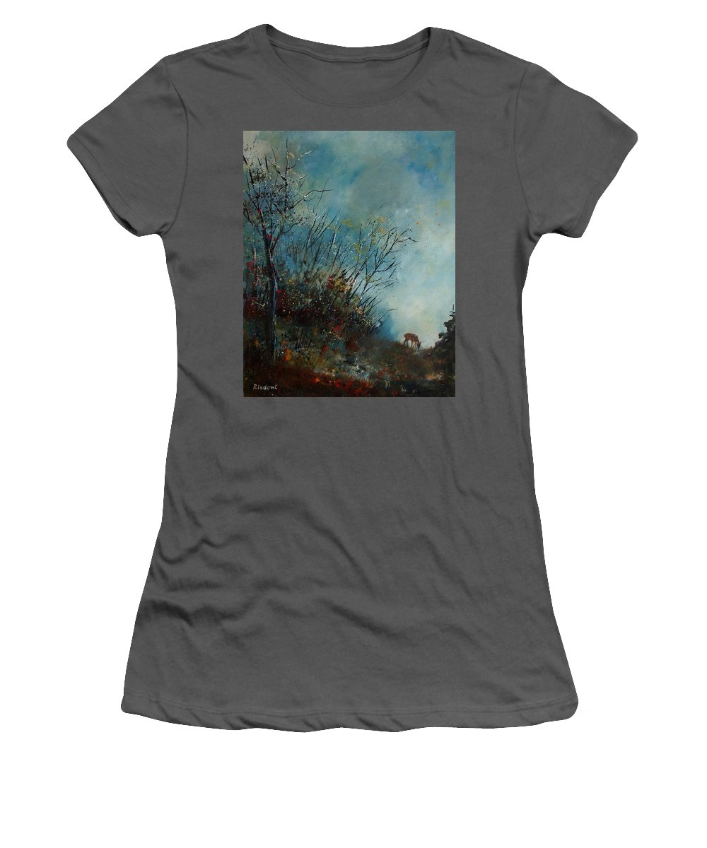 Animal Women's T-Shirt (Athletic Fit) featuring the painting Roedeer In The Morning by Pol Ledent