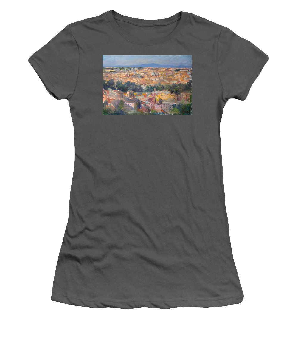 Rome Women's T-Shirt (Athletic Fit) featuring the painting Rome View From Gianicolo by Ylli Haruni