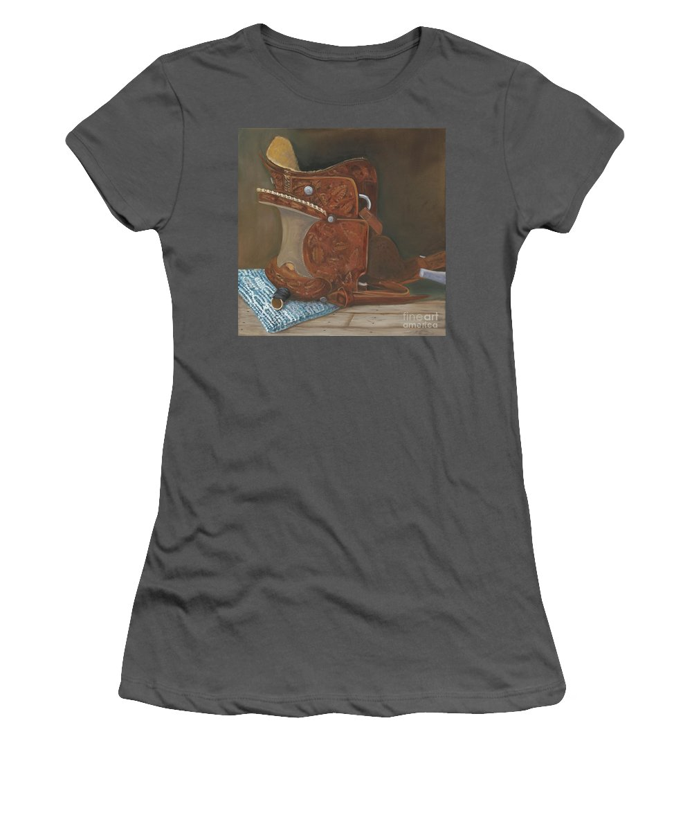 Saddle Women's T-Shirt (Athletic Fit) featuring the painting Roping Saddle by Mendy Pedersen