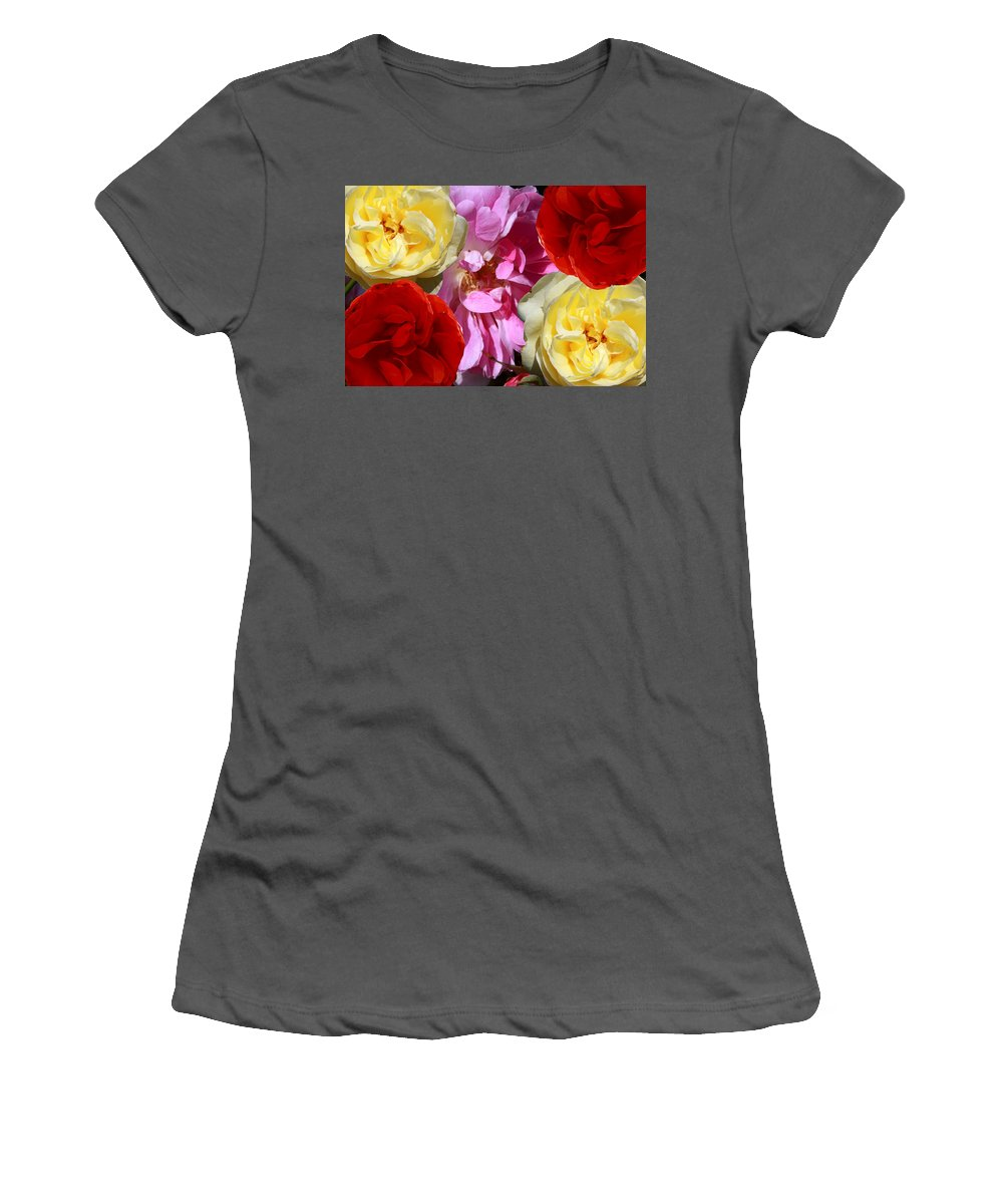 Rose Women's T-Shirt (Athletic Fit) featuring the photograph Rose Cluster by Aidan Moran