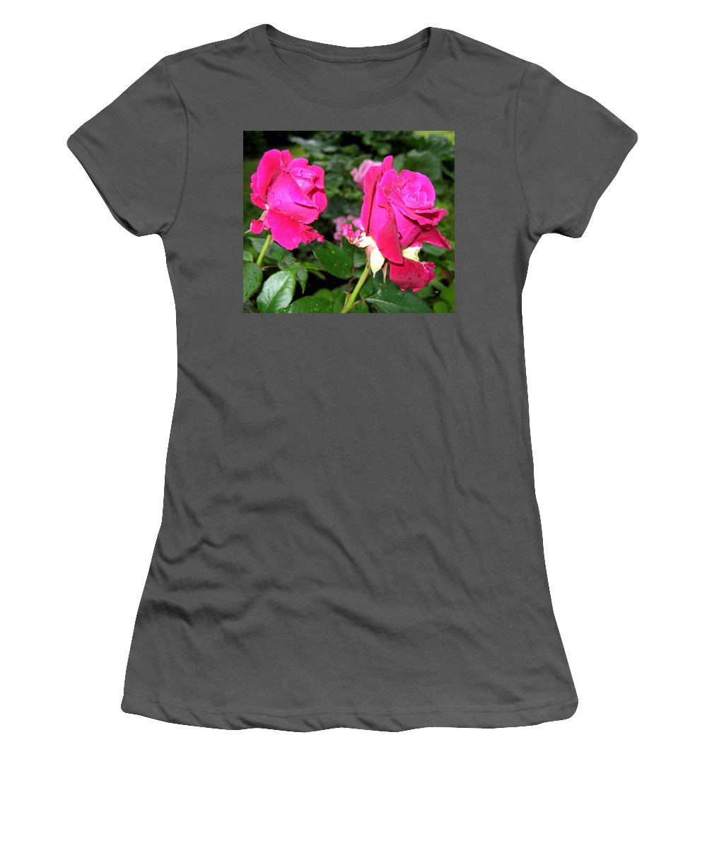 Roses Women's T-Shirt (Athletic Fit) featuring the photograph Rose Duo by Will Borden