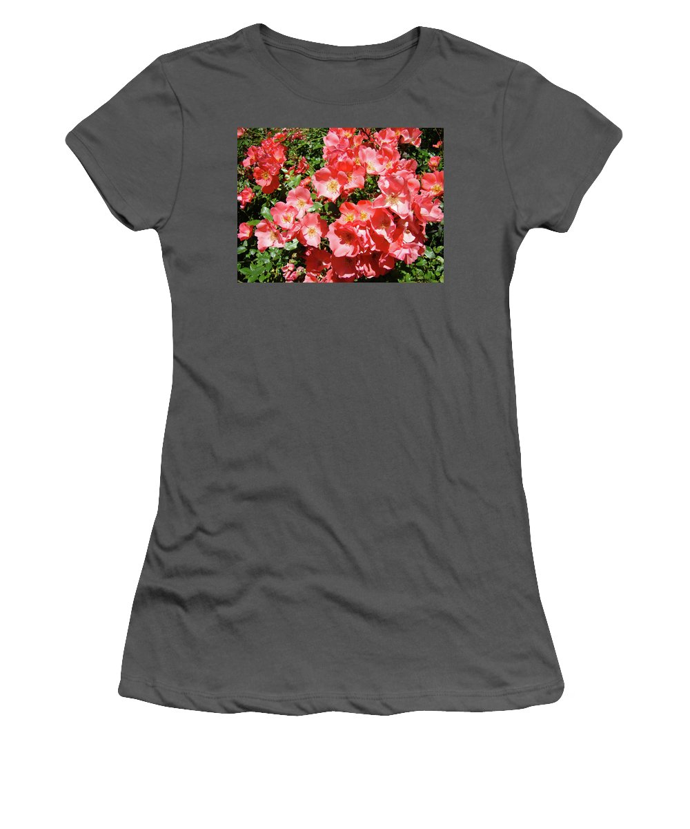Rose Women's T-Shirt (Athletic Fit) featuring the photograph Rose Garden Pink Roses Botanical Landscape Baslee Troutman by Baslee Troutman