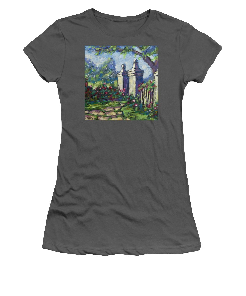 Rose Women's T-Shirt (Athletic Fit) featuring the painting Rose Garden by Richard T Pranke