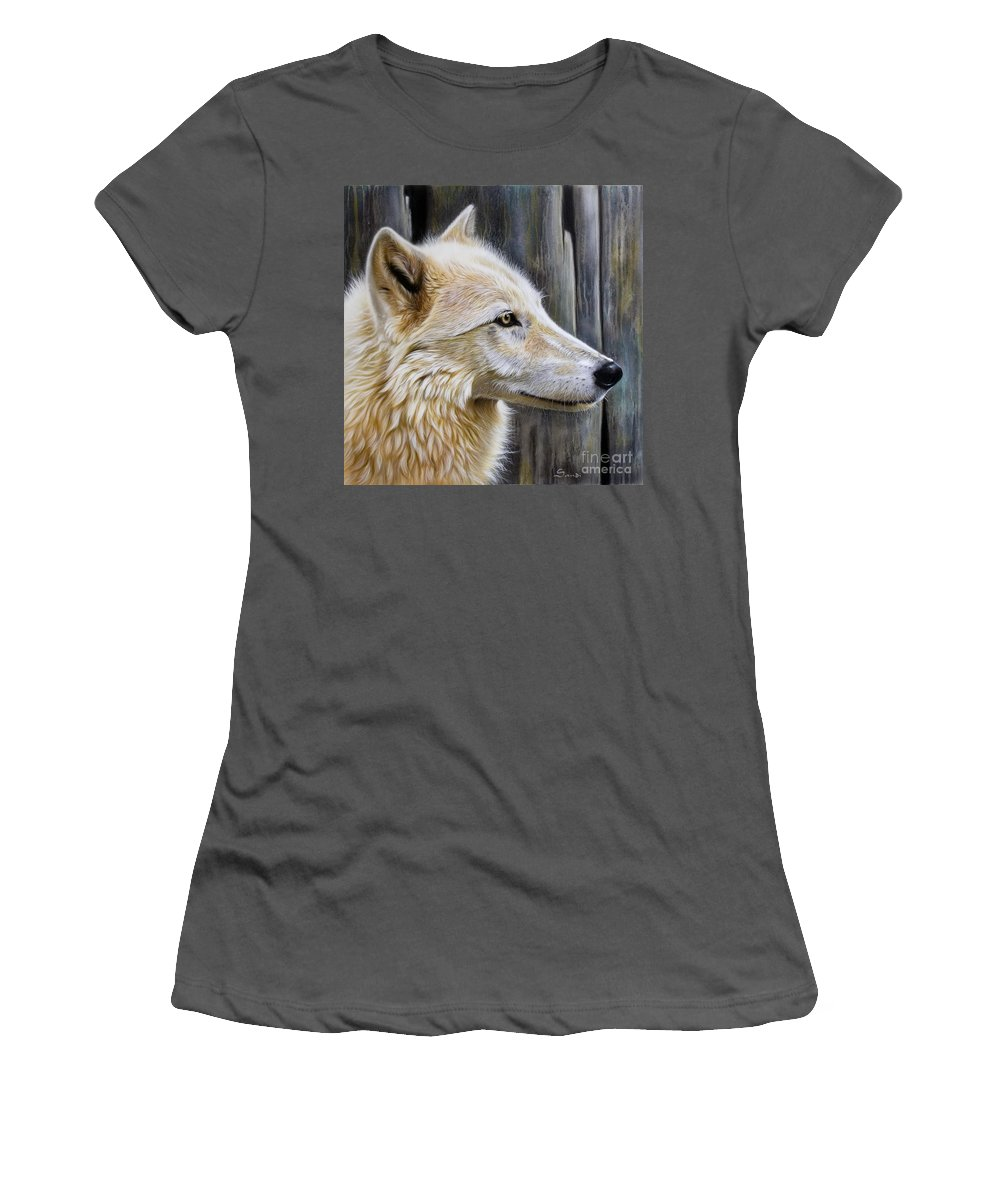Wolves Women's T-Shirt (Athletic Fit) featuring the painting Rose by Sandi Baker