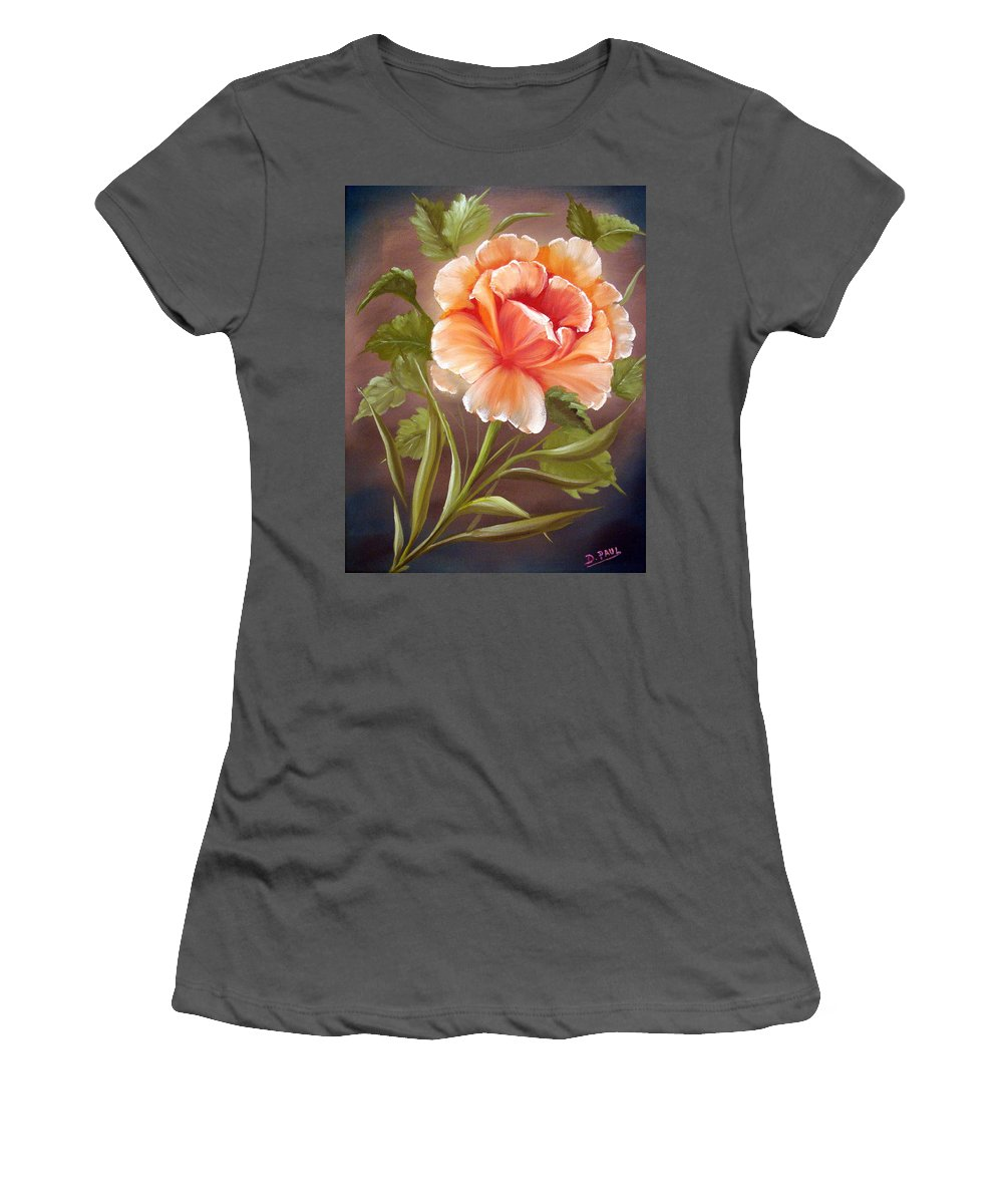 Rose Women's T-Shirt (Athletic Fit) featuring the painting Rose Tropicana by David G Paul