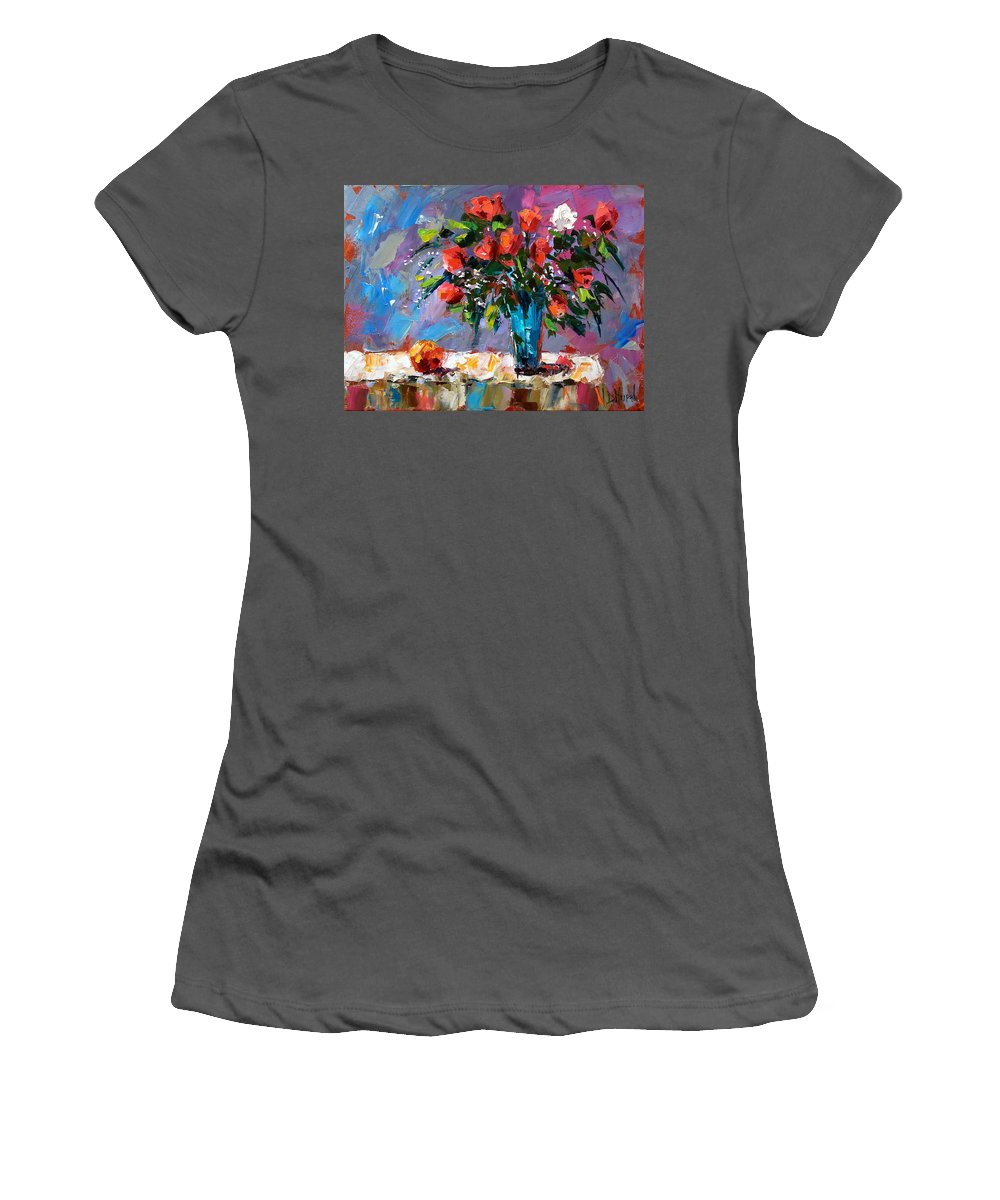 Flowers Women's T-Shirt (Athletic Fit) featuring the painting Roses And A Peach by Debra Hurd