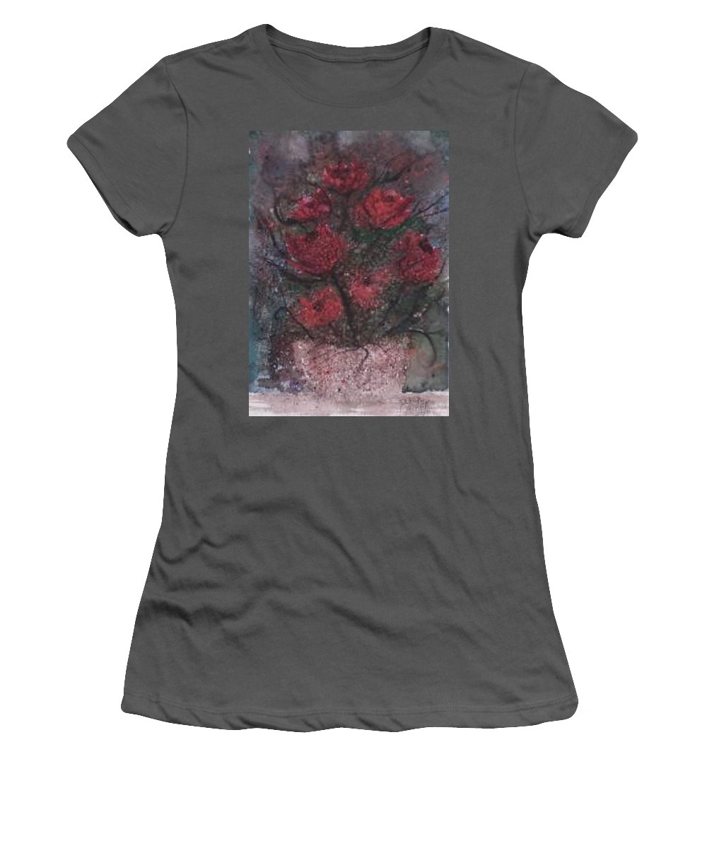 Watercolor Women's T-Shirt (Athletic Fit) featuring the painting Roses At Night Gothic Surreal Modern Painting Poster Print by Derek Mccrea