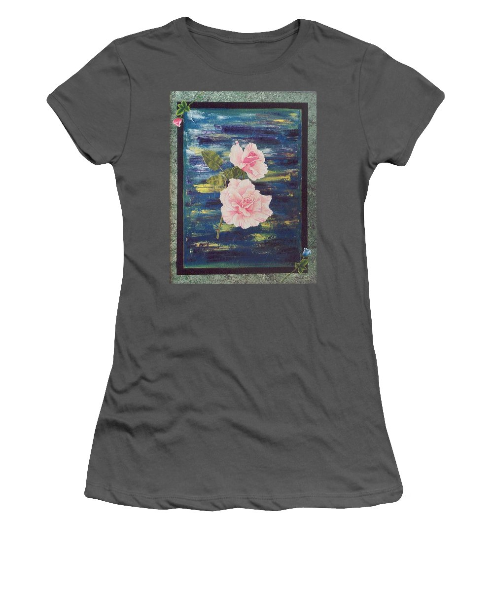 Rose Women's T-Shirt (Athletic Fit) featuring the painting Roses by Micah Guenther