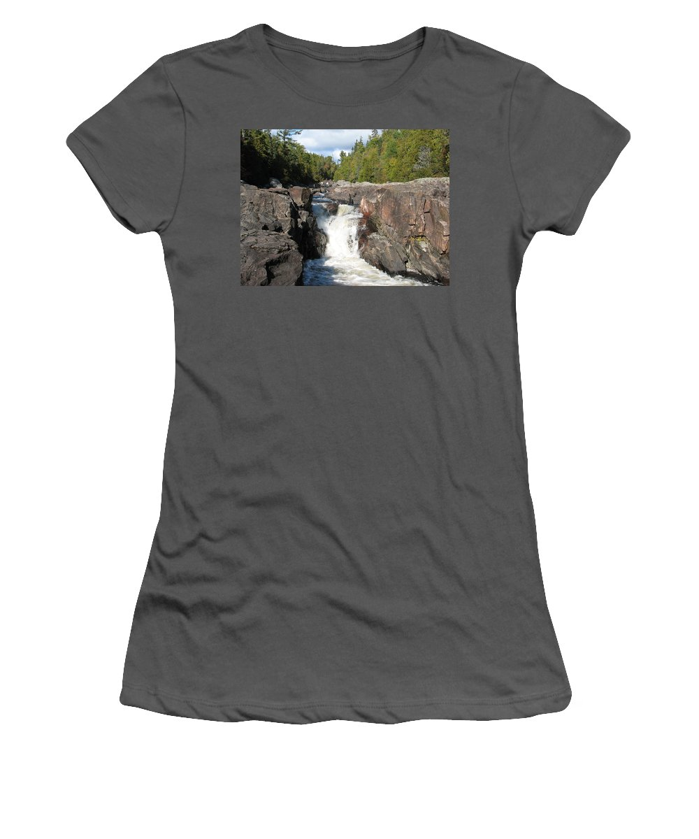 Waterfall Women's T-Shirt (Athletic Fit) featuring the photograph Rosetone Falls by Kelly Mezzapelle