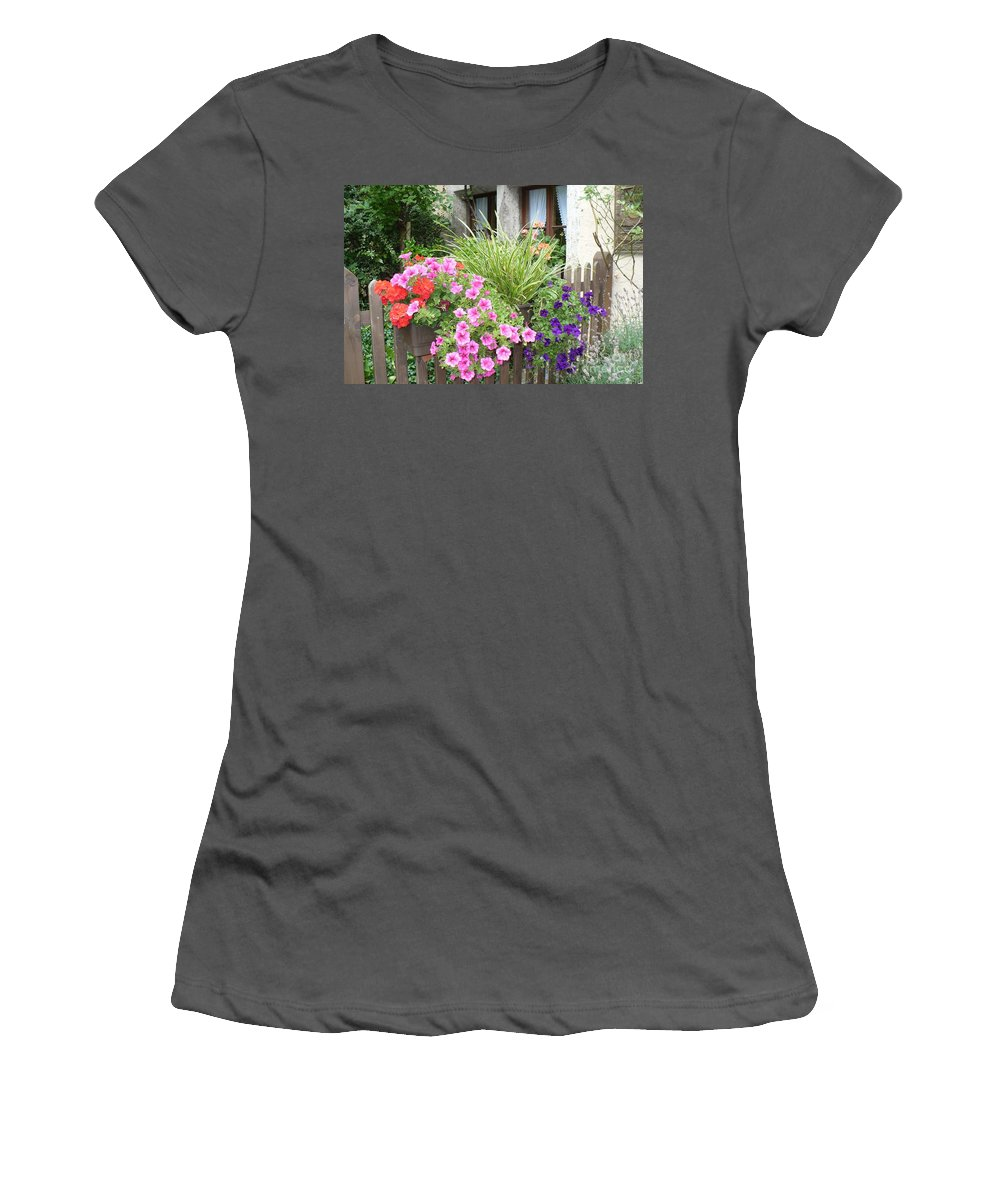 Garden Women's T-Shirt (Athletic Fit) featuring the photograph Rothenburg Flower Box by Carol Groenen