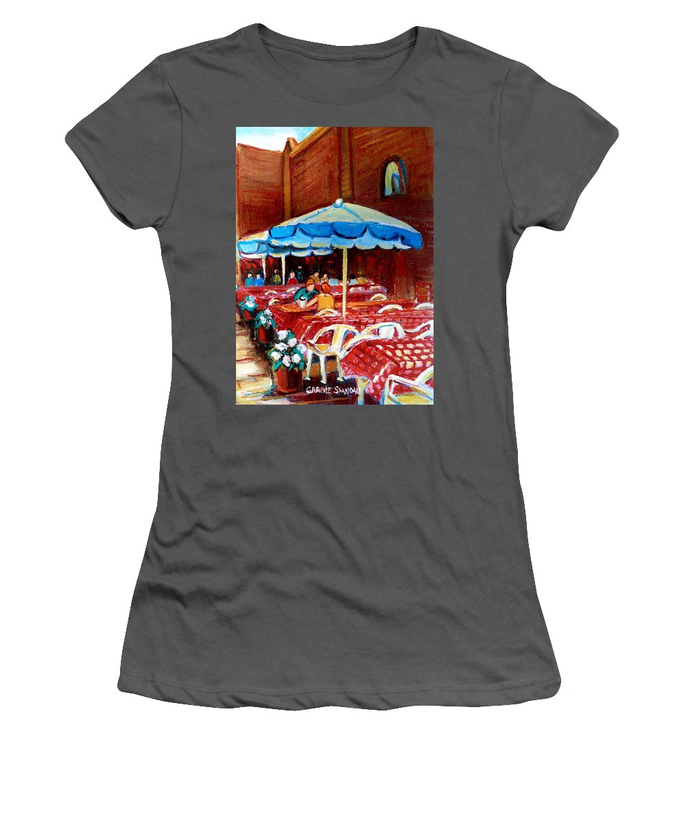Rue Prince Arthur Women's T-Shirt (Athletic Fit) featuring the painting Rue Prince Arthur by Carole Spandau