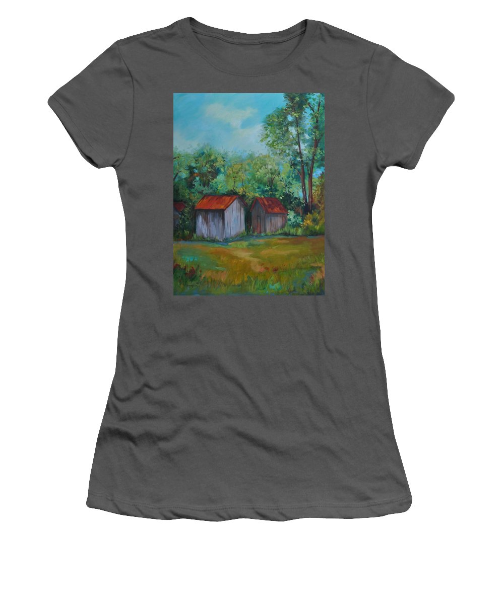 Outbuildings Women's T-Shirt (Athletic Fit) featuring the painting Rural Architecture by Ginger Concepcion