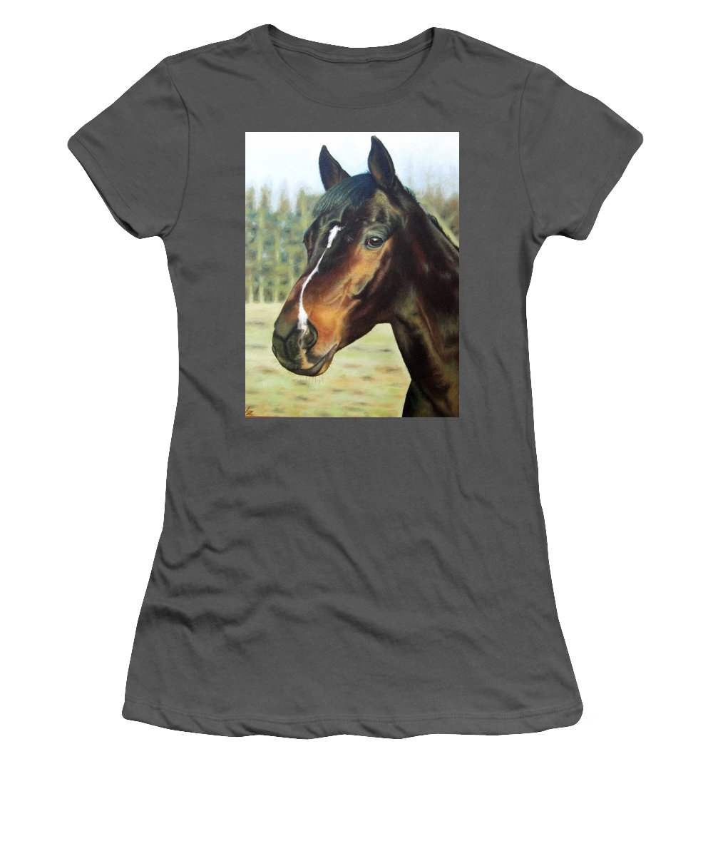 Horse Women's T-Shirt (Athletic Fit) featuring the painting Russian Horse by Nicole Zeug