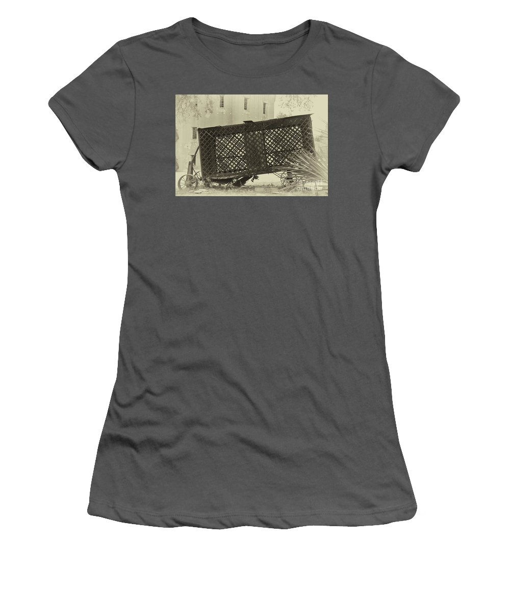 Paddy Wagon Women's T-Shirt (Athletic Fit) featuring the photograph Rusted Horse Drawn Paddy Wagon by Dale Powell