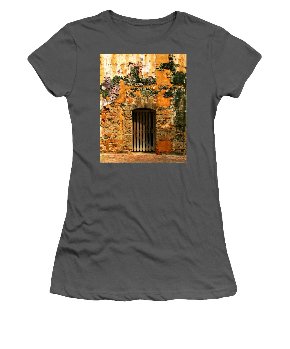 Fort Women's T-Shirt (Athletic Fit) featuring the photograph Rustic Fort Door by Perry Webster