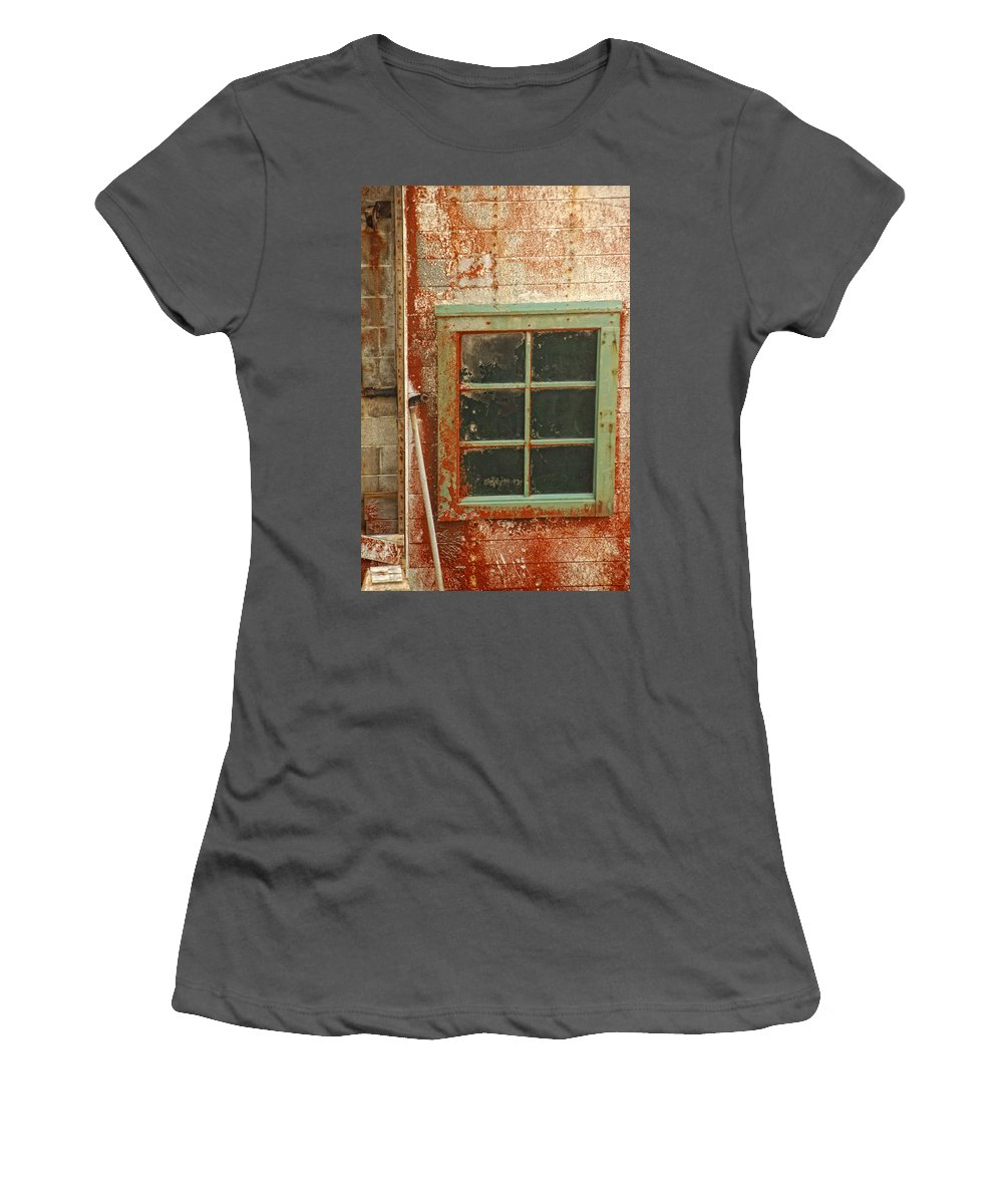 Window Women's T-Shirt (Athletic Fit) featuring the photograph Rusty Lighthouse Window by Donna Blackhall