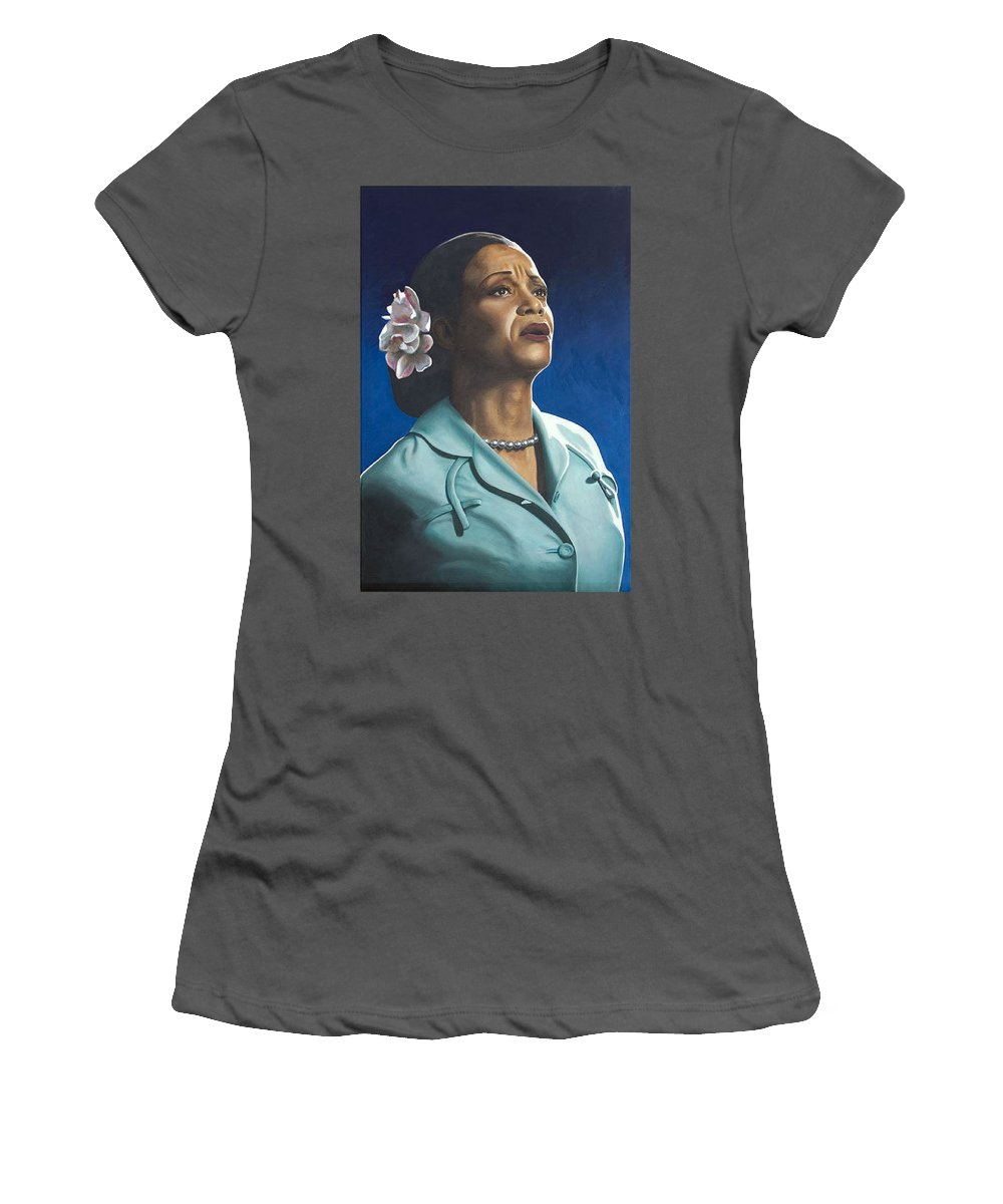 Portrait Women's T-Shirt (Athletic Fit) featuring the painting Ruth Jacott by Rob De Vries
