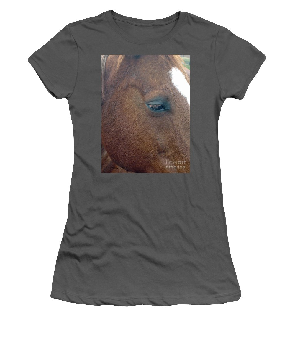 Horse Women's T-Shirt (Athletic Fit) featuring the photograph Sad Eyed by Shelley Jones
