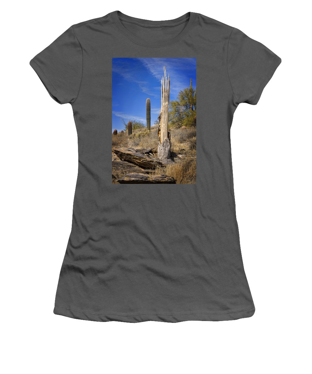 Saguaro Women's T-Shirt (Athletic Fit) featuring the photograph Saguaro Cactus Skeleton by Kelley King